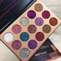 US 15Colors Diamond Glitter Eye Shadows Rainbow Cosmetic Make Up Pressed Palette