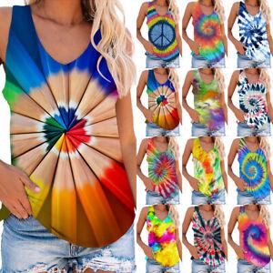 Womens V-neck Tie Dye Sleeveless Summer Casual Vest Tank Tops T-shirt Tee Blouse