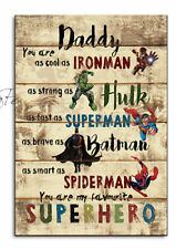 PERSONALISED DADDY Present, Superhero Father`s day Gift, DAD,Batman,Hulk,Plaque