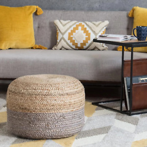 Pouf Cover Grey & Natural Jute Pillow Round Home Handmade Jute Pouf Cover Only