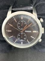 Fossil FS4866 Men's Watch Chronograph Black Leather Band Analog Quartz 48mm O888