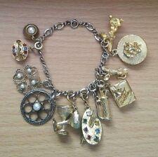 "Sterling vintage charm bracelet gold toned charms 11 art phone mouse bunny 6.75"""