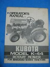 Kubota Mower Illustrated Parts Lists Amp Operators Manual K 44 For B6000
