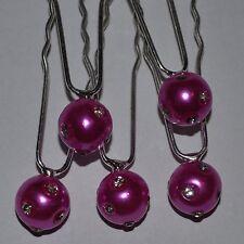 LOT 5 épingles à cheveux rose mariage perles strass fuchsia TIARE NEUF