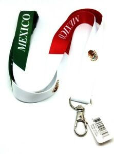 Mexican FLAG LANYARD Key chain Neck strap ID Holder Breakaway MEXICO green red