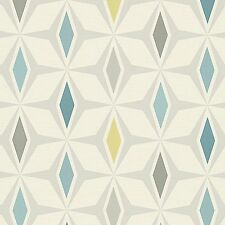 Around the World Teal Retro Wallpaper Diamond Design Paste the Wall 30476-1