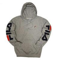 FILA Vintage Logo Men's Hoodie Sweatshirt GRAY XS-Small Only