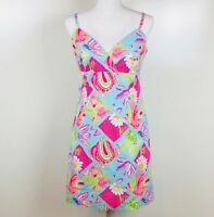 Lilly Pulitzer Women's Dress Size 10 Floral Print Multi-Color Spaghetti Strap oo
