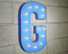 """21"""" Letter G PLUG-IN or BATTERY LED Rustic Vintage Metal Marquee Light Up Sign"""