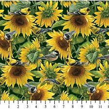Beautiful Sunflowers and Birds Premium 100% Cotton Fabric by the Yard