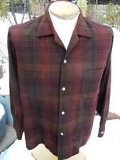 Vintage 1960s Rockabilly Plaid Board Shirt MEDIUM - Casual Washable by Truval