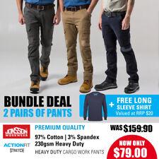 2x Men's Cargo Pants Stretch Twill Work Trousers Heavy Duty PLUS FREE T-SHIRT