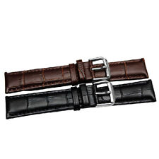 12mm-22mm Unisex Genuine Leather Black Brown Watch Strap Band Womens Mens