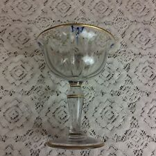"""Vtg 7"""" tall Hand painted glass Compote gold embossed with pink flowers"""