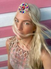 Diamond Jewel Stone Grecian Dangle Chain Shell Fan Hair Head Band Choochie Hippy