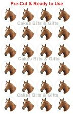 24x HORSE HEAD Edible Wafer Cupcake Toppers PRE-CUT Ready to Use
