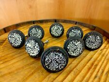 8 blackwhite lace glass drawer cabinet pulls knobs vintage distressed hardware