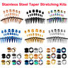 28pcs Stainless Steel Tapers Stretching Kit Ear Gauges Tunnels Plugs Piercing