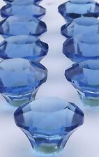 glass / Cut glass medium Slate Blue drawer & cupboard pulls door knobs 40mm
