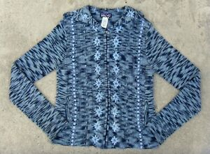 PATAGONIA hooded knitted wool blend Sweater women's Sz M Blue & Gray