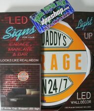 led lighted neon sign shop decor harley big daddy garage davidson open 24/7 Hd