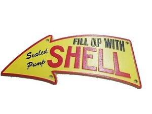 Shell Garage Sign Vintage 50s Fill Up With Shell Cast Iron Plaque 40cm