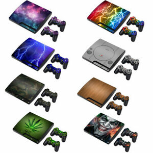 PS3 Slim Playstation 3 Console &2 Controllers Skin Decal Sticker