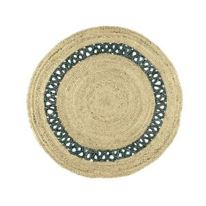 100% Jute Area Rugs Bohemian Flooring Rug Reversible Mat Carpet for Living Room