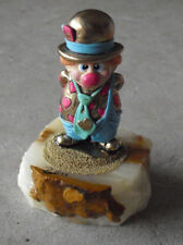 "Vintage Ron Lee Signed Clown with Hearts Onyx Base Figurine 4 3/4"" Tall"