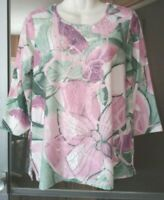 WOMEN'S ALFRED DUNNER EMBELLISHED WITH RHINESTONES FLORAL TOP SIZE PETITE S PS