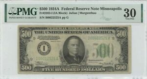 1934A $500 Federal Reserve Note Minneapolis  Fr# 2202-I PMG VF30