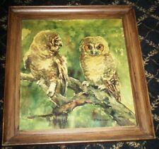 2 Owls One Obsessed Enchanted E Engelbert Schoner Signed German Impressionist