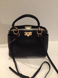 **Auth FENDI Black Peekaboo Mini-Satchel Bag