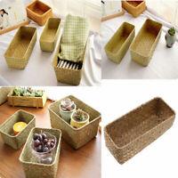 Retro Simple Seagrass Storage Basket Handmade Woven Box Home Desktop Organizer