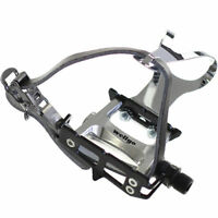 [US SELLER] Wellgo R025 Bike Pedal with Toe Clips and Leather Strap Set - Black