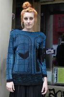Damen Pullover schwarz blau LUREX Glitzer 90er True VINTAGE 90´s glamour party