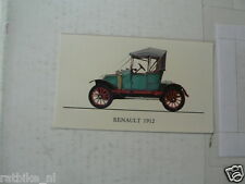 JUBILE NO 093 RENAULT 1912 VINTAGE CAR ALBUM CARD,ALBUM PLAATJE