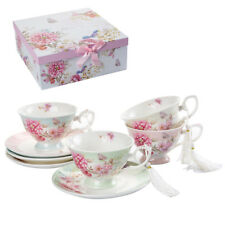 Coffee Tea Cup and Saucer Set 4 Shabby Chic Vintage Porcelain Bird Butterfly Flo