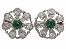 0.80 ct Tourmaline and 0.80 ct Diamond, 14 ct White Gold Earrings - Vintage