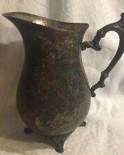 Vintage WM Rogers Silverplate Water Pitcher With Ice Divider Jug Flower Vase*