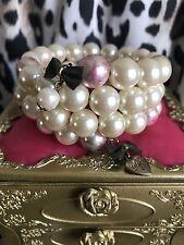 Betsey Johnson Vintage Rosebud Rose Pink Pearl Layered Coil Bow Bracelet RARE
