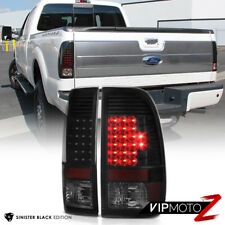 """SINISTER BLACK"" 2008-2016 Ford F250 F350 LED Rear Brake Tail Lights Assembly"