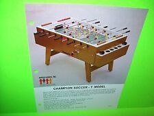 Micro Games CHAMPION SOCCER - T MODEL Original Foosball Table Arcade Game Flyer