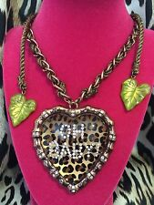 Betsey Johnson Vintage Jungle Book OH BABY HUGE Leopard Lucite Heart Necklace
