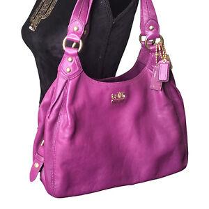 COACH MAGGIE Purple Leather Women's Tri Compartments Shoulder Bag 14336 EUC