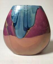 Nielsen's Extraordinary Ceramics Iridescent Glazed Vase Signed 1999 Pink Blue