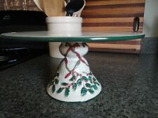 Christmas Cake Stand Ceramic or Porcelain Holly Ribbon Cream Red Green 5-1/2t
