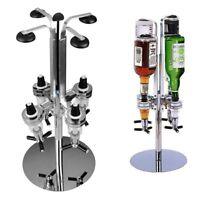 4 Bottle Rotary Bar Butler Drinks Stand Spirits Wine Optic Dispenser Party Steel