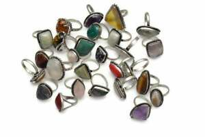 Amethyst & Mix Stone 925 Sterling Silver Plated 10pcs Lot Rings BW-859