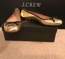 J.CREW LILY BALLET FLATS IN CRACKLED LEATHER SIZE 8,5M GOLD BLACK G7845